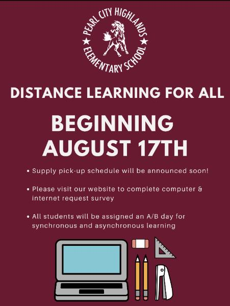Beginning August 17th: All Students Full Distance Learning ...